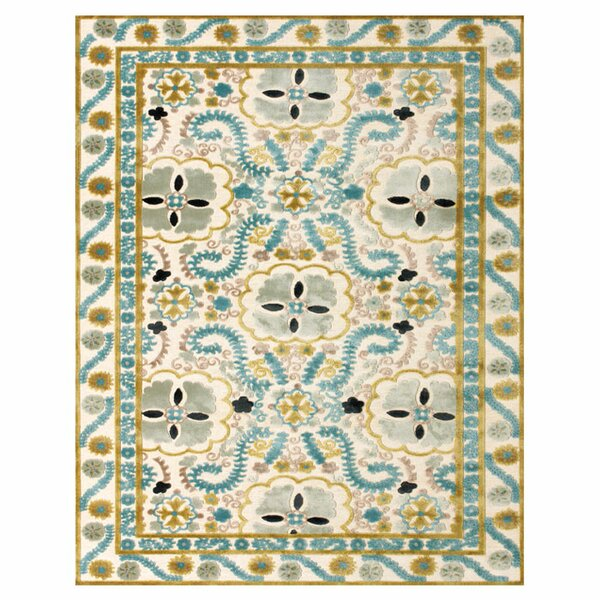 Beige / Blue Area Rug by The Conestoga Trading Co.