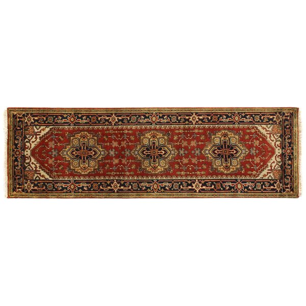 Serapi Hand Knotted Wool Rust Navy Area Rug By Exquisite Rugs.