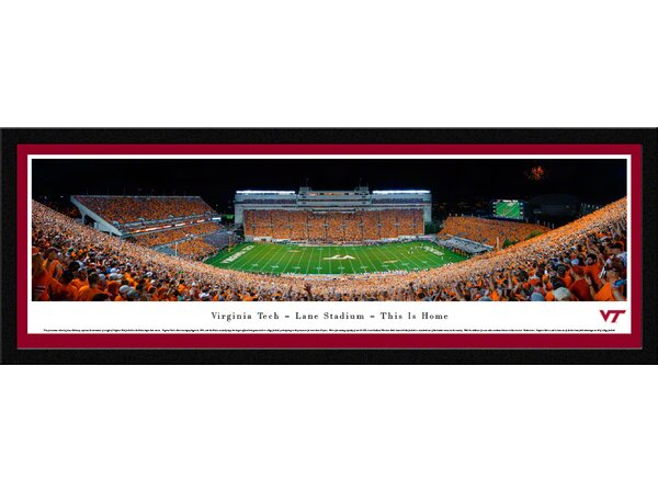 NCAA Virginia Tech - Football - 50 Yard Line by James Blakeway Framed Photographic Print by Blakeway Worldwide Panoramas, Inc