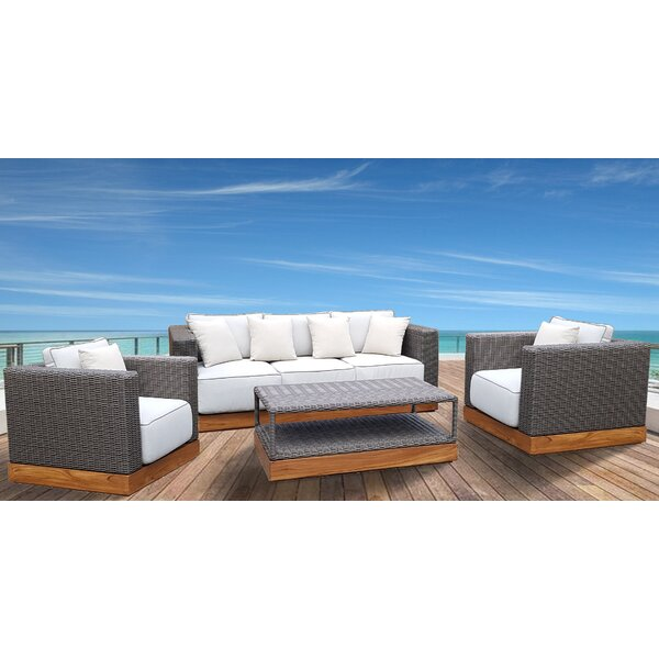 Breedlove 4 Piece Rattan Sofa Set with Cushions by Foundry Select