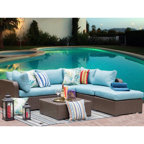 Hendrickson Outdoor 4 Piece Wicker Sectional Seating Group with Cushions by Highland Dunes