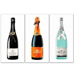 'Champagne Trio Set' Graphic Art Print Multi-Piece Image on Canvas by Willa Arlo Interiors