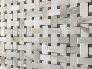 Basketweave 1.38 x 2.38 Marble Mosaic Tile in Calacatta/Lagos Azul by La Maison en Pierre
