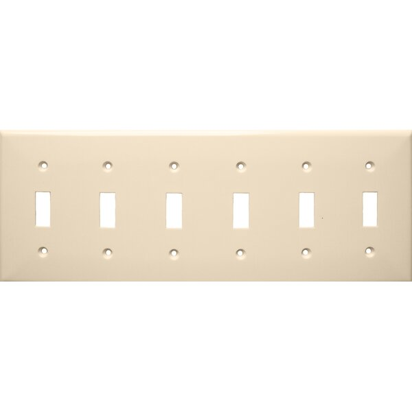 6 Gang Lexan Wall Plates for Toggle Switch in Almond by Morris Products