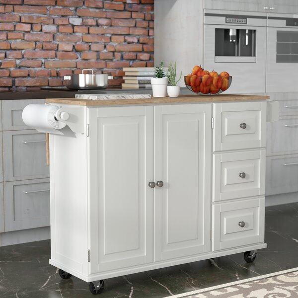 Modern Kuhnhenn Kitchen Cart With Wood Top By Andover Mills Reviews