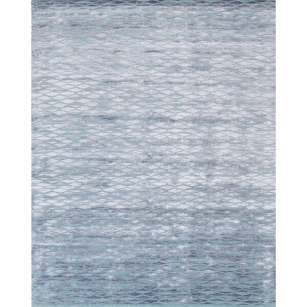 Hand-Knotted Wool/Silk Blue Area Rug by Pasargad