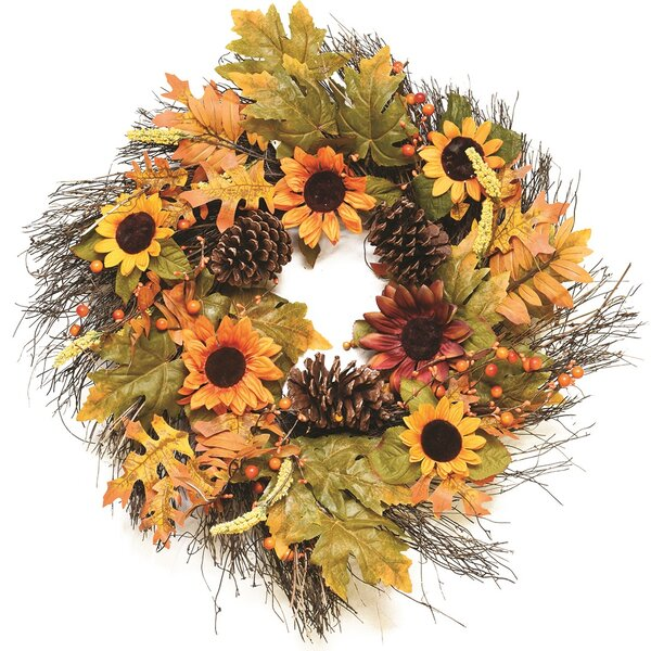 Autumn Harvest 24 Artificial Fall Leaves, Berries, Pinecones and Sunflowers Wreath by Northlight Seasonal