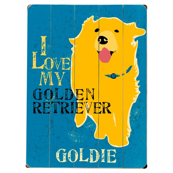 Personalized Golden Retriever Graphic Art Print Multi-Piece Image on Wood by Artehouse LLC