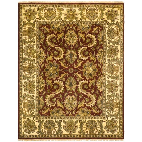 Drumroan Hand-Knotted Red/Beige Area Rug by Astoria Grand