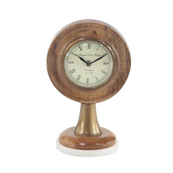Rustic Round Textured Tabletop Clock by Charlton Home