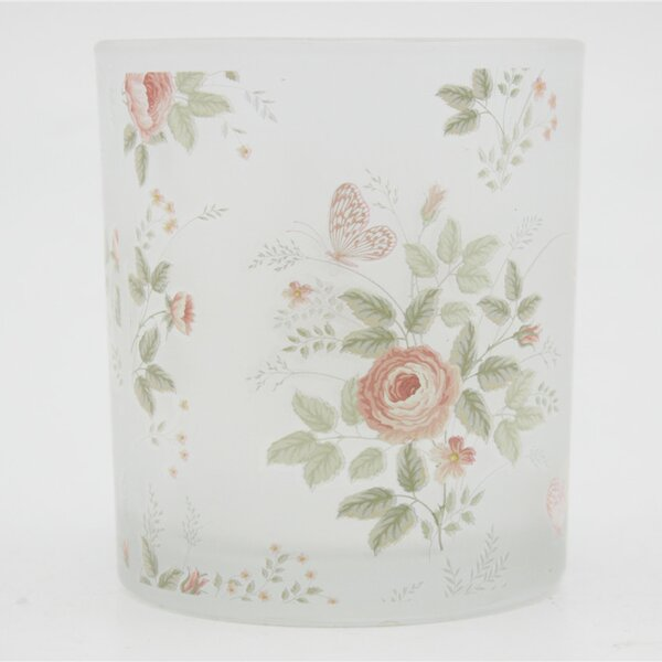 Peony and Butterfly Decal Frosted Glass Votive (Set of 3) by V-More Inc.