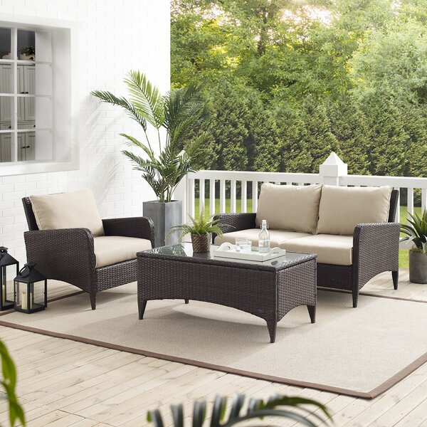 Mosca 3 Piece Rattan Sofa Seating Group with Cushions by World Menagerie