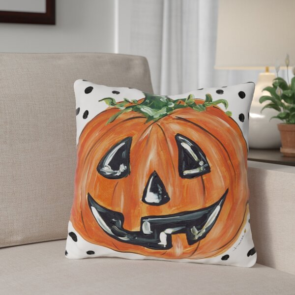 Halloween Pumpkin Dots Throw Pillow by The Holiday Aisle