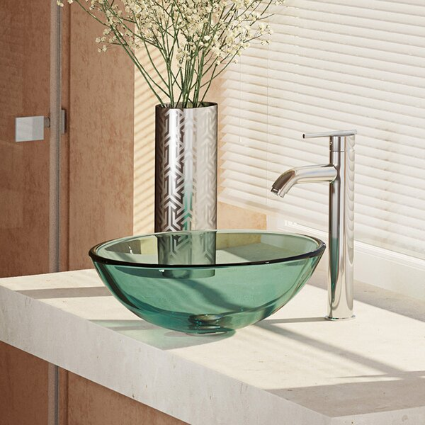 , Ivy Glass Circular Vessel Bathroom Sink with Faucet by René By Elkay