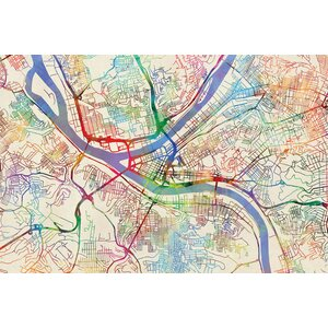 Urban Rainbow Street Map Series: Pittsburgh, Pennsylvania, USA Graphic Art on Wrapped Canvas by East Urban Home