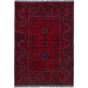 Check Prices One-of-a-Kind Kaler Hand-Knotted 3'4 x 4'10 Wool Red/Black Area Rug By Isabelline