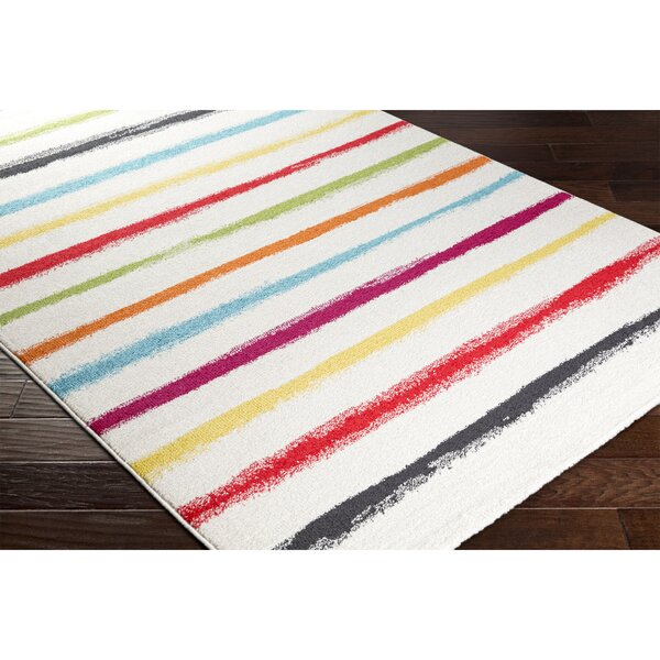 Dillsboro Neutral/Black Striped Area Rug by Ebern Designs