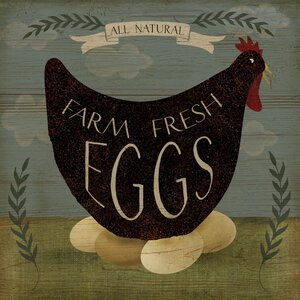 'Farm Fresh Eggs' by Beth Albert Graphic Art on Canvas by Buy Art For Less