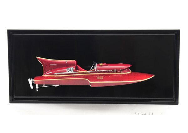 Ferrari Hydroplane Half Hull Framed Graphic Art by Old Modern Handicrafts
