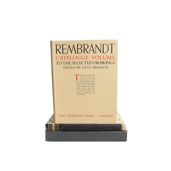 Authentic Decorative Books -  1947 Rembrandt: Selected Drawings Set of 2 by Otto Benesch  Coffee Table Decorative Set by Booth & Williams