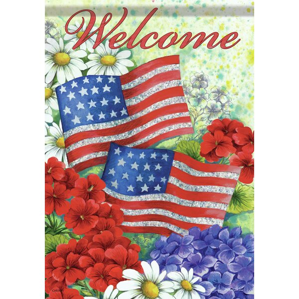 American Flag and Flowers 2-Sided Garden Flag by C