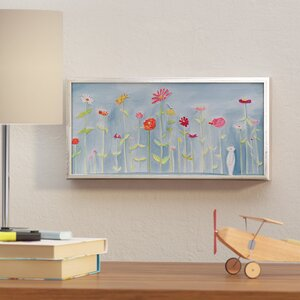 Chandra 'Blue Zinnia Garden' Framed Canvas Art by Viv + Rae