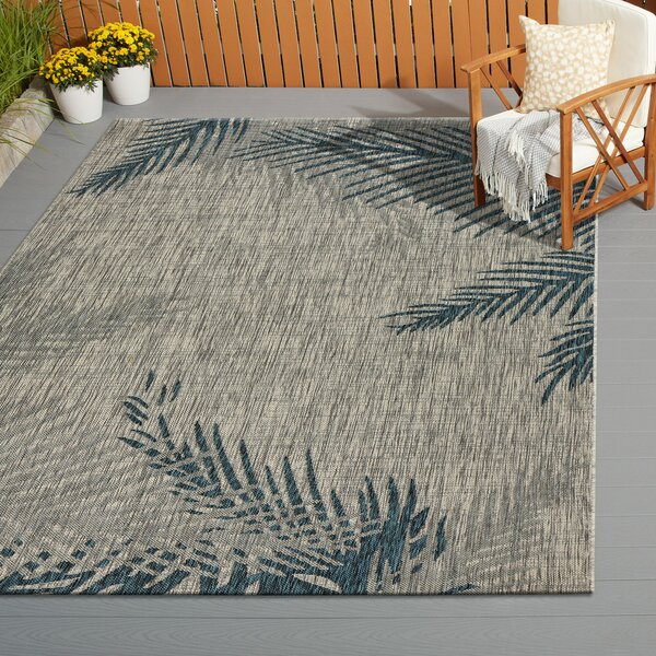 Christiane Tropical Palms Gray/Blue Indoor/Outdoor Area Rug by Highland Dunes