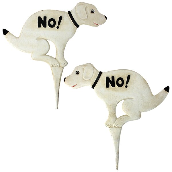 No Pausing Pooch Dog Lawn 2 Piece Garden Stake Set by Design Toscano