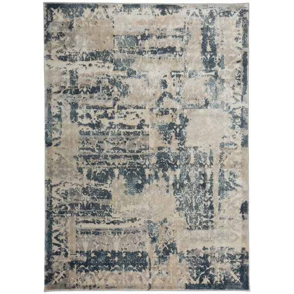 Zeke Distressed Vintage Blue/Ivory Area Rug by Bungalow Rose