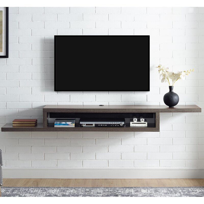 martin home furnishings ascend 72 asymmetrical wall mounted tv component shelf reviews wayfair. Black Bedroom Furniture Sets. Home Design Ideas