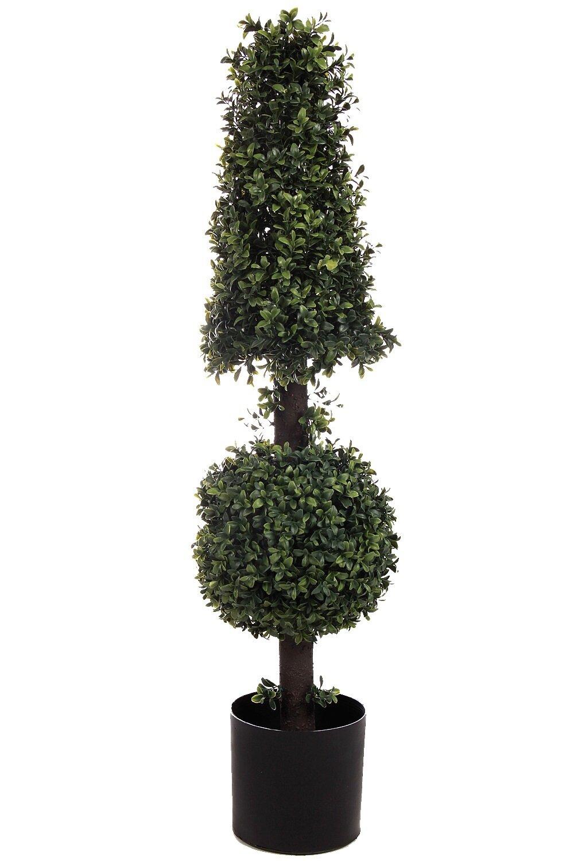 One 38 Inch Outdoor Artificial Boxwood Ball Cone Uv Topiary Tree Pot 4 3 5 Bush