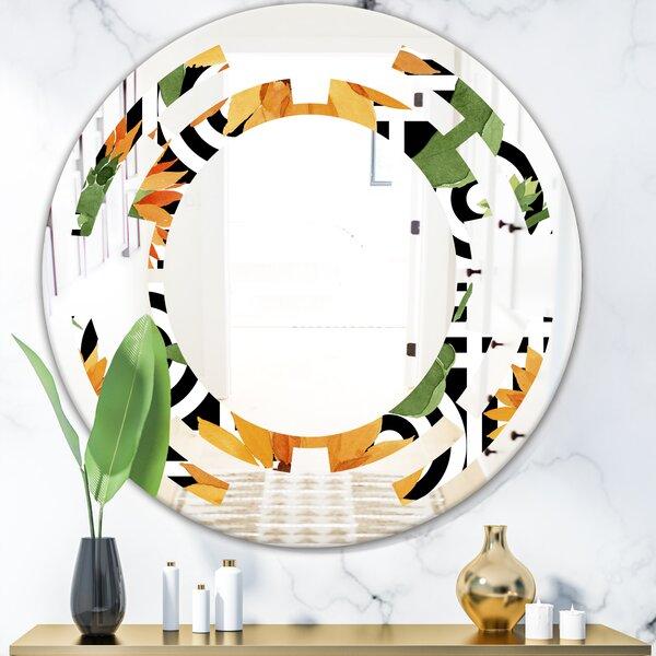 Space Floral Botanical II Coastal Frameless Wall Mirror
