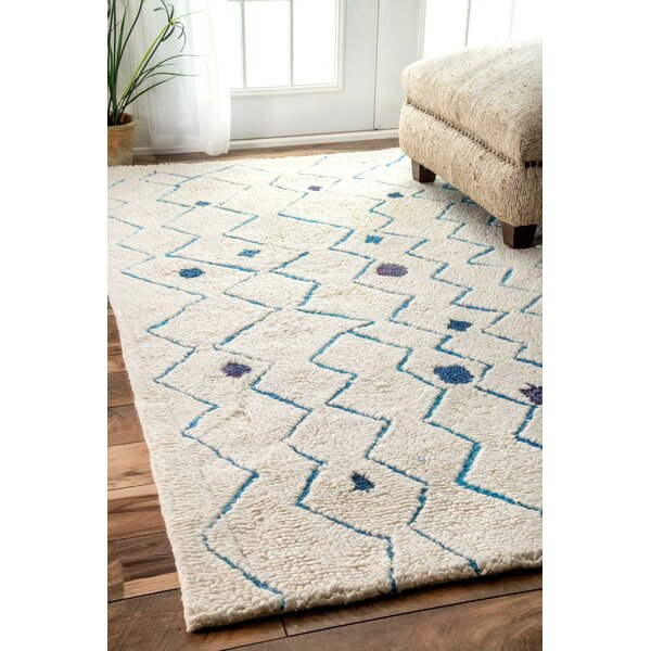 Alexina Hand-Tufted Beige/Blue Area Rug by Brayden Studio