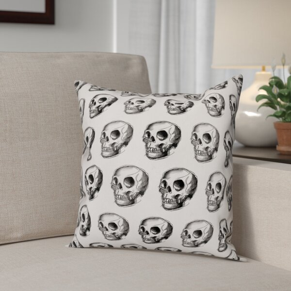 Skull Sketch Pattern Throw Pillow by The Holiday Aisle