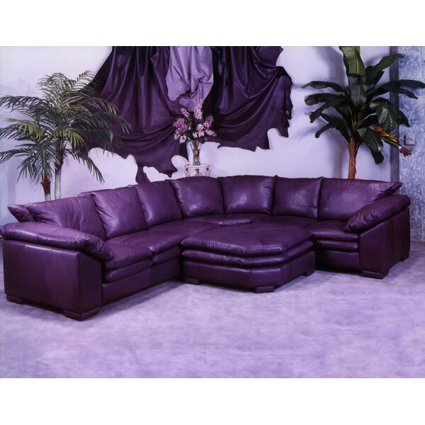 Fargo Leather Sectional with Ottoman by Omnia Leather Omnia Leather