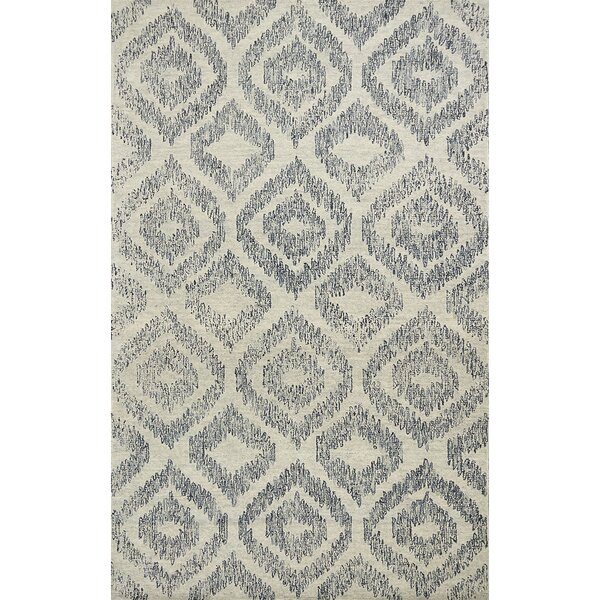 Gilleland Hand-Tufted Wool Ivory/Blue Area Rug by Ivy Bronx
