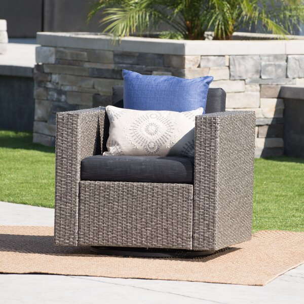 Furst Outdoor Swivel Club Chair with Cushions by Wade Logan