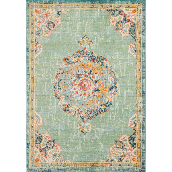 Ernst Green/Orange Area Rug by Bungalow Rose
