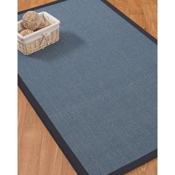 Ivy Border Hand-Woven Gray/Midnight Blue Area Rug with Free Rug Pad by Bloomsbury Market