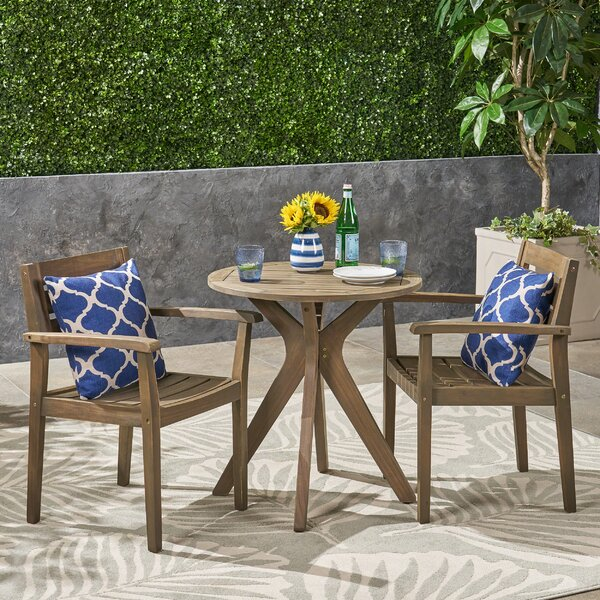 Ramage Outdoor Acacia Wood 3 Piece Bistro Set by Gracie Oaks