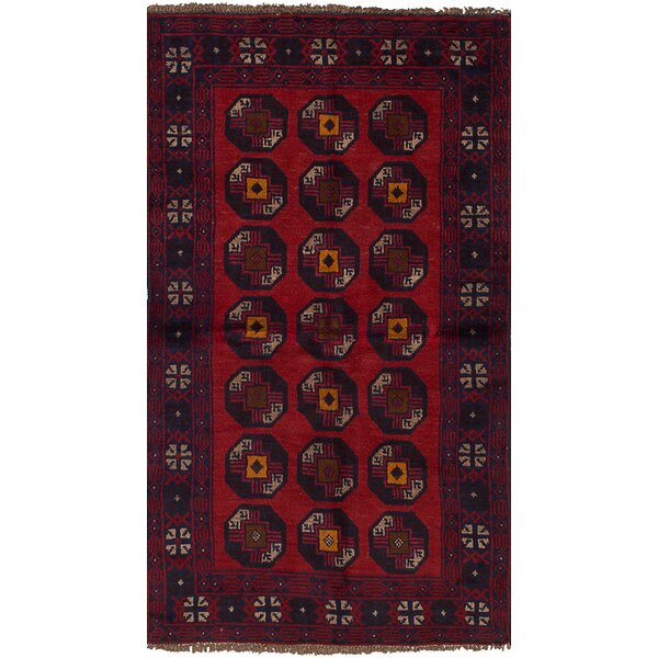 One-of-a-Kind Alana Hand-Knotted Wool Red/Navy Area Rug by Isabelline
