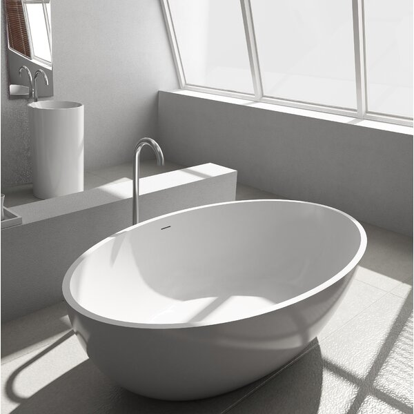 Pietro Solid Surface 69.25 x 40.5 Freestanding Soaking Bathtub by Cheviot Products