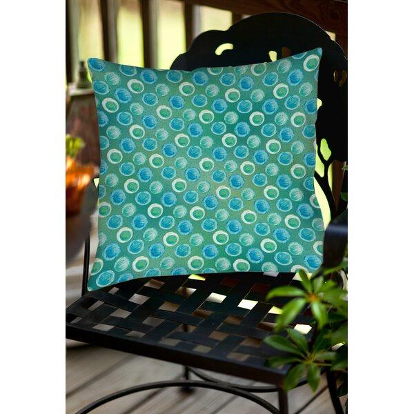 Aqua Bloom Dots Indoor/Outdoor Throw Pillow by Manual Woodworkers & Weavers
