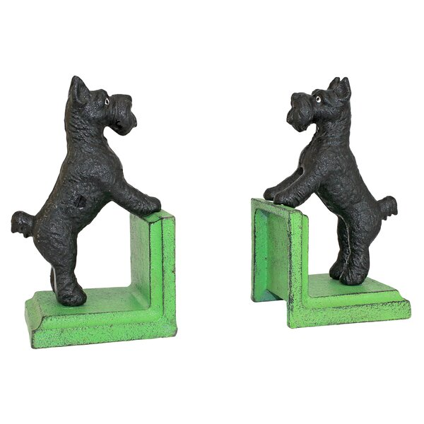 Over the Fence Scotty Dog Cast Iron Sculptural Bookends (Set of 2) by Design Toscano