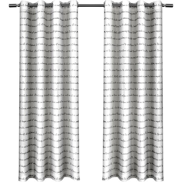 Rodney Graphic Print & Text Sheer Grommet Curtain Panels (Set of 2) by Langley Street