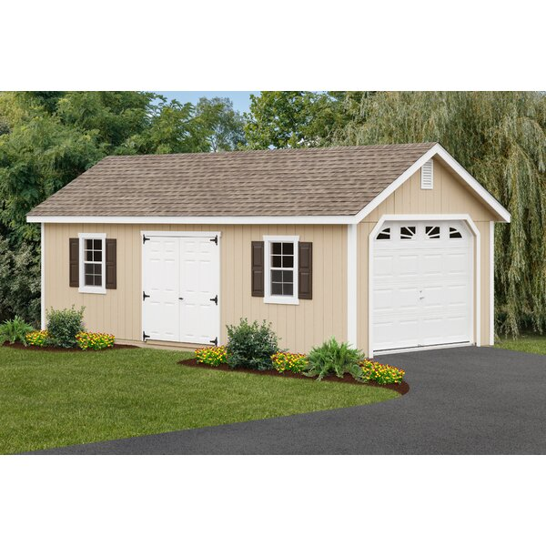 12 ft. W x 26 ft. D Wooden Garage Shed by YardCraft