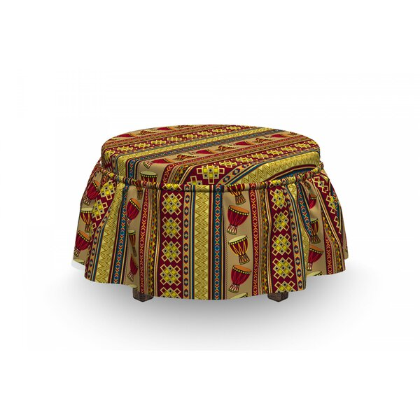 African Djembe Drums Geometric 2 Piece Box Cushion Ottoman Slipcover Set By East Urban Home