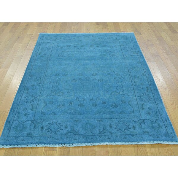 One-of-a-Kind Bearer Overdyed Hand-Knotted Blue Wool Area Rug by Isabelline