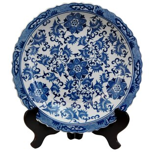 Floral Decorative Plate in Blue \u0026 White  sc 1 st  Wayfair : fall decorative plates - pezcame.com