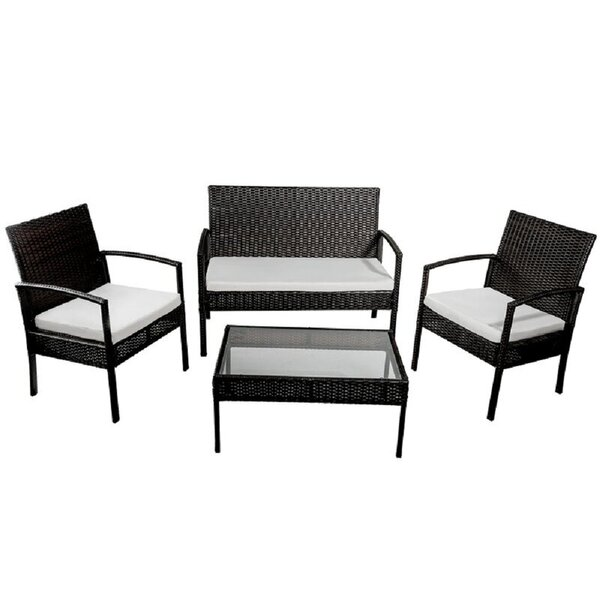 Efrat 4 Piece Rattan Sofa Seating Group with Cushions by Ebern Designs